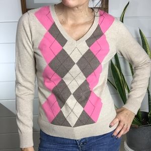 Izod Argyle Sweater, Thin, Brown, Tan and Pink